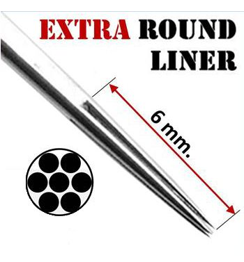 AKIRA Extra Round Liner Needles; 0.35mm. (50 units).