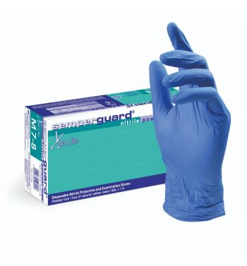 SEMPERGUARD Xtra Lite Blue Nitrile Gloves; 100 Units.