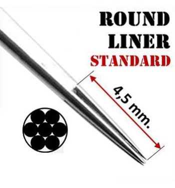 AKIRA Standard Round Liner Needles; 0.35mm. (50 units).