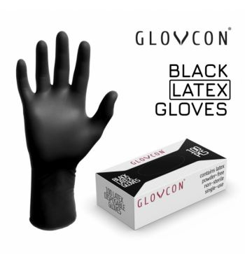 GLOVCON Black Latex Gloves; 100 units.