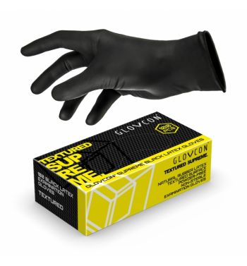 GLOVCON Black Textured Latex; 100 units.